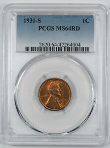 1931 S LINCOLN WHEAT CENT PENNY 1C PCGS CERTIFIED MS 64 RED MINT UNC (004)