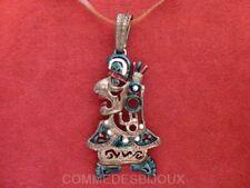 """Pendentif """"Inca Indien"""" Symbole Amériques Coiffe Plumes - Bijoux Vintage Sphinx"""