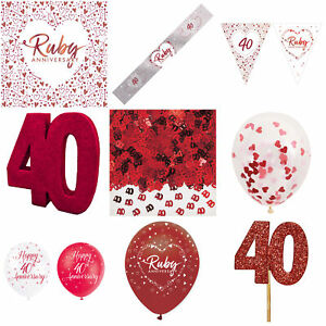 Anniversary Ruby Red 40th Decorations Set Balloons Bunting Banners Napkins