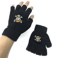 one Size Black 02 Salemor One Piece Gloves Luffy//Law Logo Fingerless Gloves Mittens Anime Cosplay Costume Gloves Black Gloves for Girls Boys