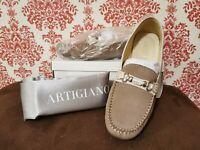 BNWB Artigiano Tan Mocassins Loafers Size EU 42 UK 8 Suede Leather Woman's
