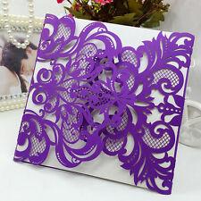 12 Pcs Personalized Colors Purple Laser Cut Evening Wedding Invitation Cards