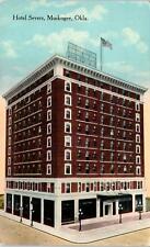 MUSKOGEE, OK Oklahoma    HOTEL  SEVERS   Street  Scene   1917     Postcard