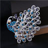 Vintage Style Luxurious Peacock Blue Austrian Crystal silver tone Brooch Pin