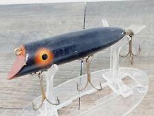Vintage Unmarked Wood Topwater Bait, Swimmer Old Plug {Black} B00