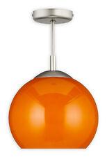MODERN BALL SEMI FLUSH CEILING LIGHT ORANGE 25cm - SILVER SATIN AND GLASS FINISH