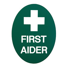 FIRST AIDER BADGE GREEN ENGRAVED FIRST AIDER BADGE - PIN FASTENER - EVENT