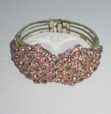 Bangle Bracelet Sparkling Rhinestone Crystal Pink Gold Tone Statement Shiny Chic
