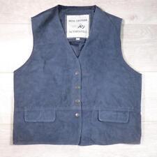 Ladies Vintage Blue SUEDE WAISTCOAT Boho Vest Festival Large #F3006