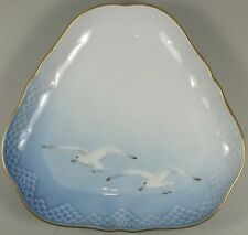 Beautiful Copenhagen Porcelain Triangular Plate W/ Embossing & Seagull Motif
