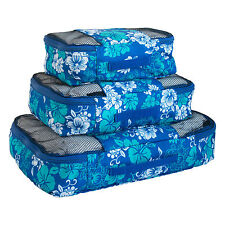 Travel Packing Mesh Bag, Packing Cubes - Assorted 3PC Set - Blue n white Flowers