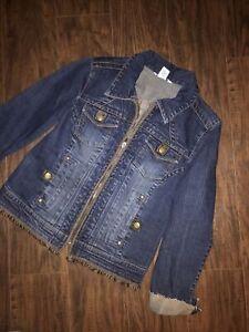 Cabi Womens Denim With Fringe Jacket Size Medium