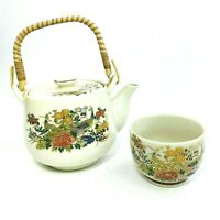Vintage Japanese Porcelain Tea Pot Gold Accent Peacock Bamboo Handle One Cup