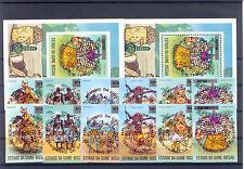 100 Jahre UPU - Guinea-Bissau - 374-379 b, Bl.11b A/B ** MNH 1974 rot