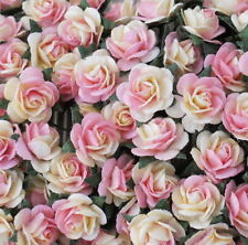 100 Pink Mini Paper Flower Roses Wedding headpiece basket doll art crafts R2-411
