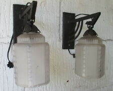 art deco wall sconces pressed glass & wrought iron