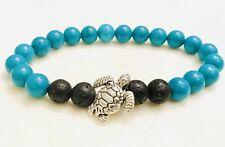 Sea Turtle Silver Plated Essential Oil Diffuser Bracelet Lava Boho Turquoise