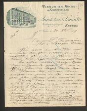 """NEVERS (58) CONFECTIONS & TISSUS en gros """"ARRIAT Ainé & LEMAITRE"""" en 1909"""