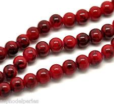50 perles en verre rouge avec effet marbré 8 mm