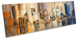 Hong Kong Cityscape Abstract Picture PANORAMA CANVAS WALL ART Print Beige