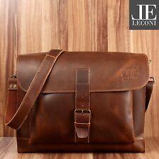 LECONI Messenger Bag Aktentasche Damen Herren Leder vintage mittelbraun LE3054