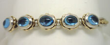 18KYG & Sterling 5 Cabochon Blue Topaz Bracelet by Lorenzo Excellent Condition!!