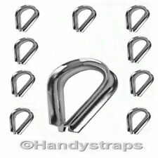 Wire Rope Thimbles 10 x 6mm for 6mm wire  Marine Stainless Steel Handy Straps