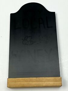 """9"""" tall x 4.75"""" wide black arch top CHALK BOARD table-top stand wood base"""