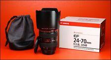 Canon EF 24-70mm F2.8 Lente Zoom Af Pro USM L + Tapas Lente F/R + Capucha + Estuche + Caja
