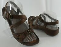 Womens ECCO Brown Leather Open Toe Strappy Comfort Sandals Size 6.5 US 37 EUR