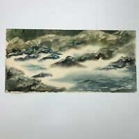 Watercolor Painting Misty River Mountain Rapids S H Prillaman 30 x 14 Two Sided
