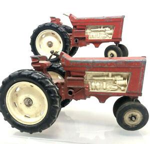 Pair of Vintage 1950s Hubley Toy Tractors Red Die Cast Original Paint