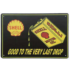 Shell Oil Can Tin Sign Petrol Man Cave Bar Shed Garage 30cm x 20cm