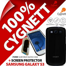 New Cygnett Form Black Gloss Case For Samsung i9300 Galaxy S3 + Screen Protector