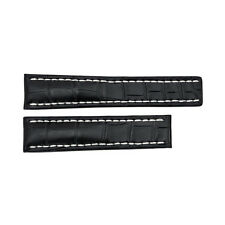 Breitling Black Watch Band Strap with White Contrast Stitching 22-20mm