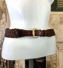 Vintage brown plaited weave hippie boho chic leather fashion belt S/M R14554