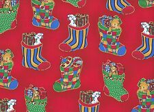 Red Stockings Christmas Fabric  110cm Wide (per metre)