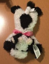 World Market Plush Bean Bag Cow with Plaid Bow 9""