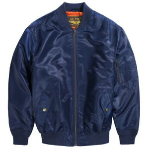 Landing Leathers Men's Navy MA-1 Windbreaker Bomber Jacket - Navy