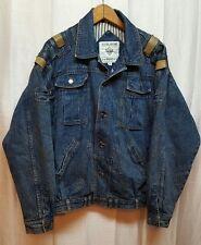 Vintage Mens Jean Denim Leather patch Jacket County Seat Jeanswear Medium A229