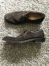 VINTAGE Ferragamo Brown Suede Dress Shoes Oxford Size 12 Rare Model
