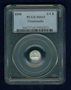 GUATEMALA REPUBLIC 1898 1/4 REAL COIN, CERTIFIED GEM UNCIRCULATED PCGS MS65