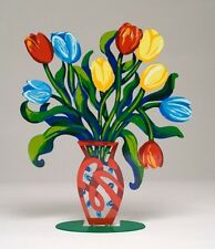 David Gerstein Artist Object Laser Cut Abstract Tulips Bouquet Vase Free Ship