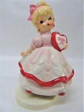 Vintage Lefton Valentine Heart Girl Music Box Figurine x242