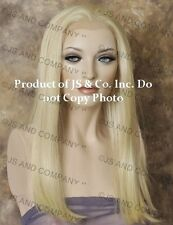 Heat Safe Human Hair Blend Wig Lace Front Long Straight Pale Blonde WBCL 613