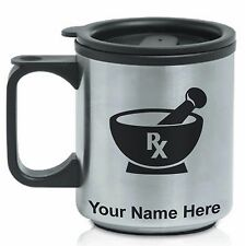 Coffee Travel Mug, Rx Pharmacy Symbol, Personalized Engraving Included