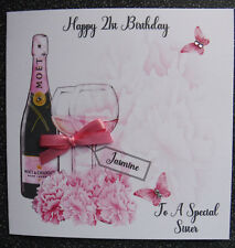 HANDMADE PERSONALISED BIRTHDAY CARD,PINK CHAMPAGNE BIRTHDAY
