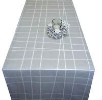 Tischläufer Tischdecke grau weiß modern Stoff Baumwolle 130 x 40 cm
