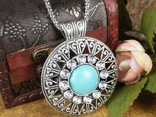 Bohemian Tibetan Round Natural Turquoise Silver Pendant Necklace Vintage Gift