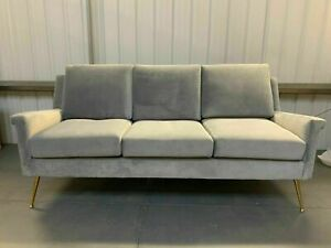 3 Seater Lidmar Sofa Dove Grey Velvet Gold Drumstick Legs Plush Cushions Modern
